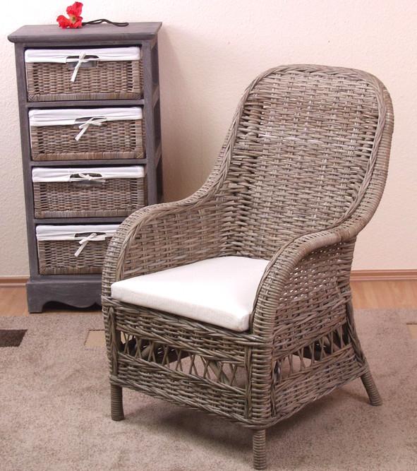 rattansessel grau inklusive kissen kubu rattan sessel rattanstuhl rattan stuhl ebay. Black Bedroom Furniture Sets. Home Design Ideas