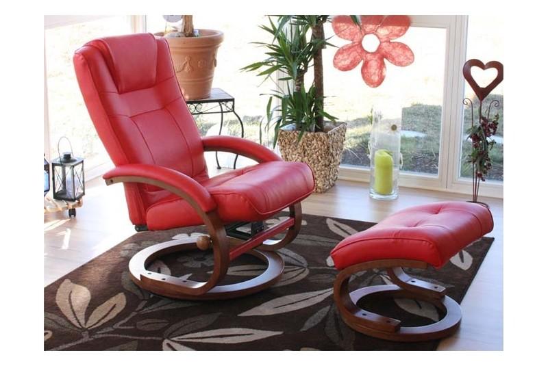 Roter sessel relaxsessel mit hocker fu st tze rot for Roter sessel mit hocker