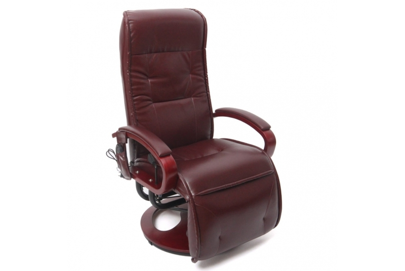 sessel bordeauxrot relaxsessel mit massagefunktion massage gespaltenes leder ebay. Black Bedroom Furniture Sets. Home Design Ideas