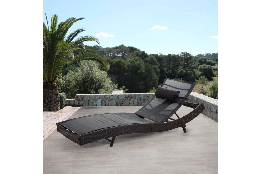 sonnenliege gartenliege polyrattan lounge design liege garten braun schwarz ebay. Black Bedroom Furniture Sets. Home Design Ideas
