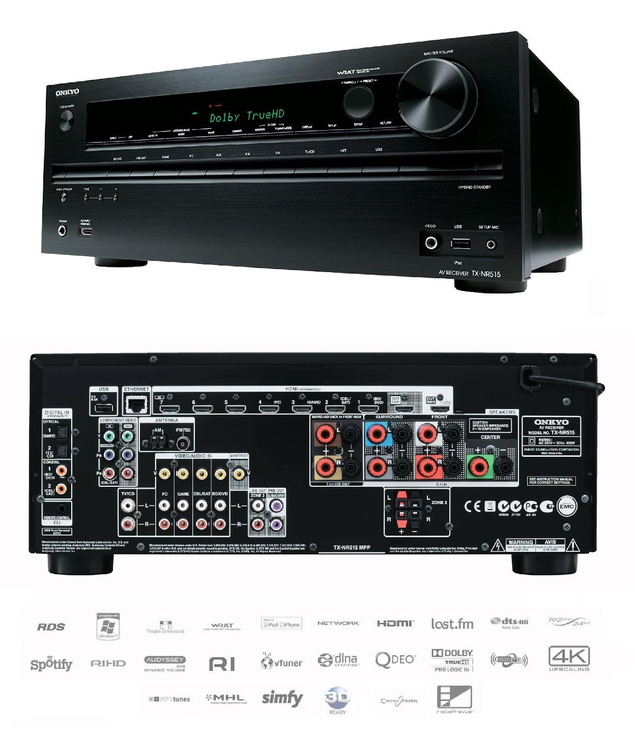 Details About Onkyo TX NR515 3D Network 72 Home Cinema AV HD Receiver 10x HDMI Dolby TrueHD