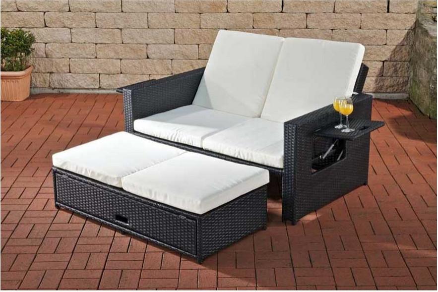 Gartensofa verstellbar polyrattan schwarz garten outdoor liegefunktion sofa ebay - Daybed garten ...