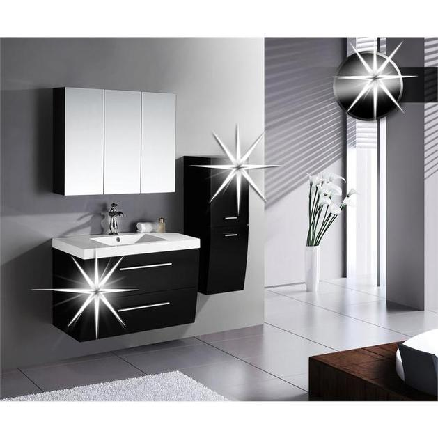 Mobile bagno sospeso Ray, design moderno bianco o nero, con lavabo ...