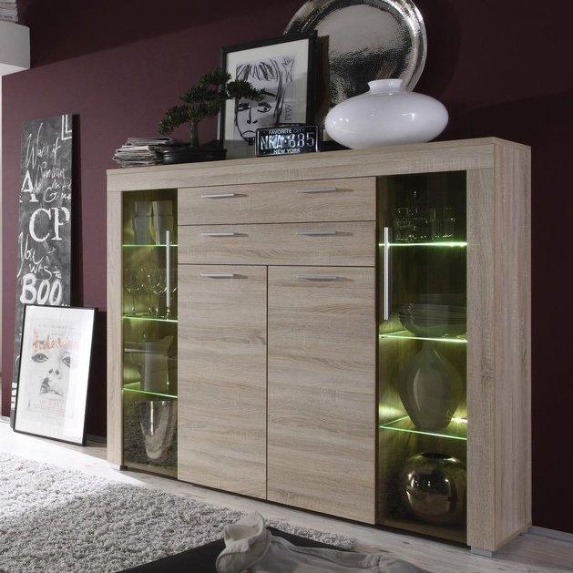 Credenza moderna azalea, vetrina bianca o rovere, mobile soggiorno ...