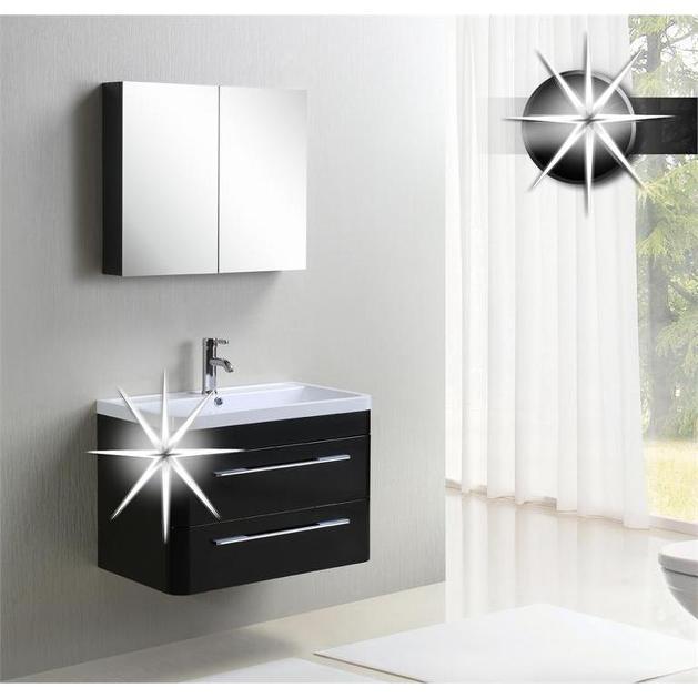 Mobile bagno sospeso boris design moderno bianco o nero - Mobile bagno nero lucido ...