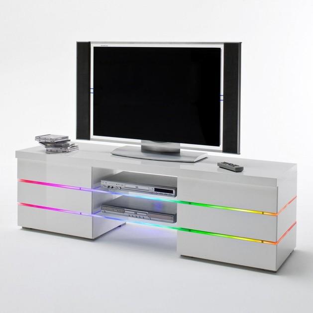 Porta tv bianco like,mobile soggiorno moderno con illuminazione ...