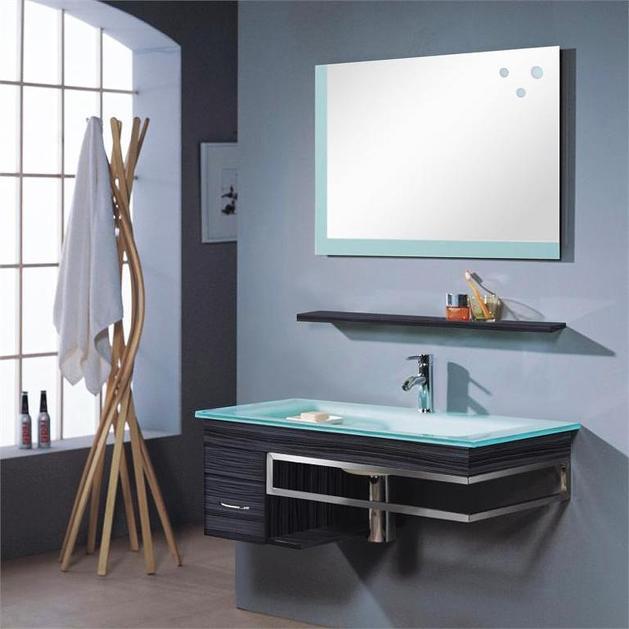 mobile bagno sospeso herman lavandino in vetro specchio mensola e armadietto