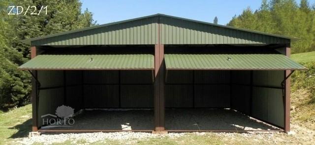mehrzweck garage blechgarage fertiggarage 5mx6 m mit satteldach und schwingtoren. Black Bedroom Furniture Sets. Home Design Ideas