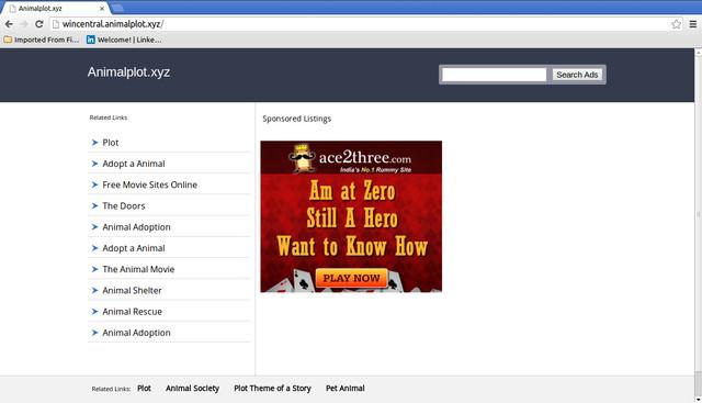 Wincentral.animalplot.xyz pop-up ads