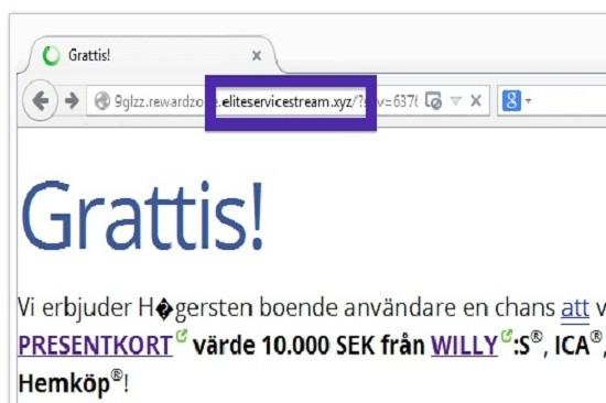 Eliteservicestream.xyz pop-up ads
