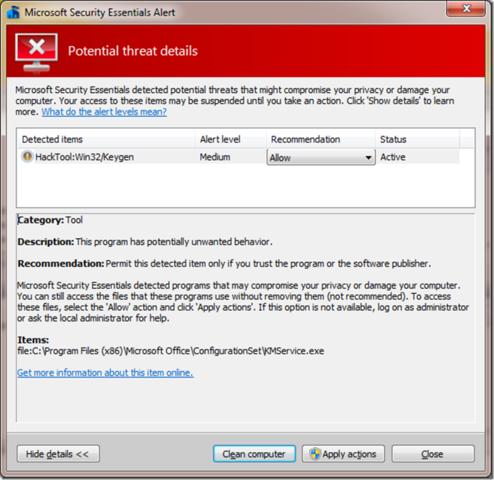 Hacktool Win32 Keygen Microsoft Security Essentials