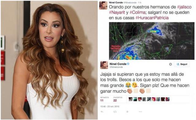Ninel Conde la vuelve a regar en twitter, ahora por el huracán Patricia