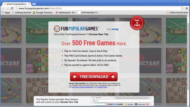 Barra de herramientas FunPopularGames