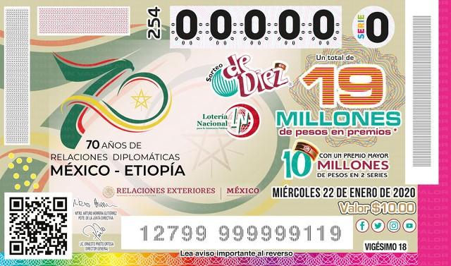 Loteria Nacional Sorteo de Diez No. 254 en Vivo – Miércoles 22 de Enero del 2020