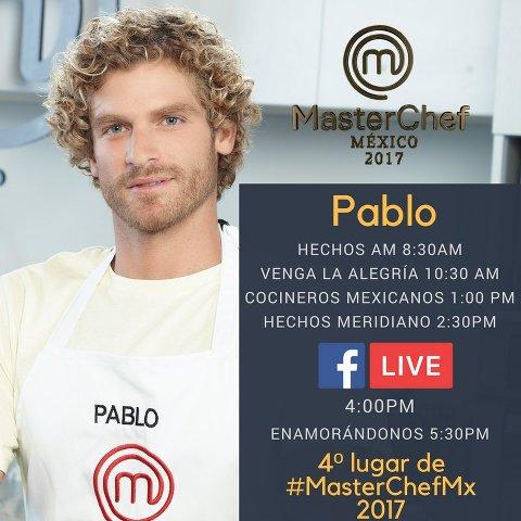 Pablo de MasterChef México 2017 en Vivo – Lunes 11 de Diciembre del 2017