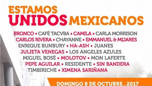Concierto Estamos Unidos Mexicanos en Vivo – Domingo 8 de Octubre del 2017