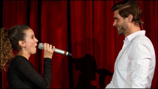 Paulina Goto y Horacio Pancheri en la presentación de la telenovela