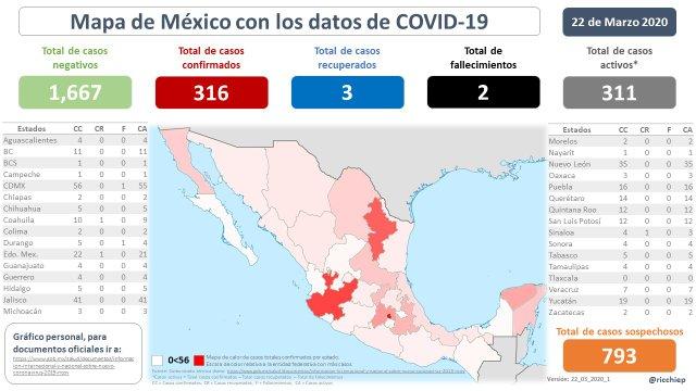 Mapa de México con los datos de COVID-19 Coronavirus