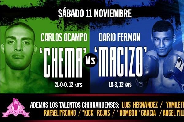 Carlos «Chema» Ocampo vs Darío «Macizo» Ferman en Vivo – Box – Sábado 11 de Noviembre del 2017