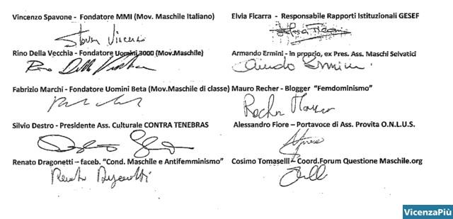 I firmatari della Carta di Vicenza