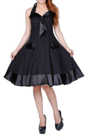 48deb2ca28c Pin Up Kleid schwarz Gothic Rockabilly 50ies Sailor Burlesque
