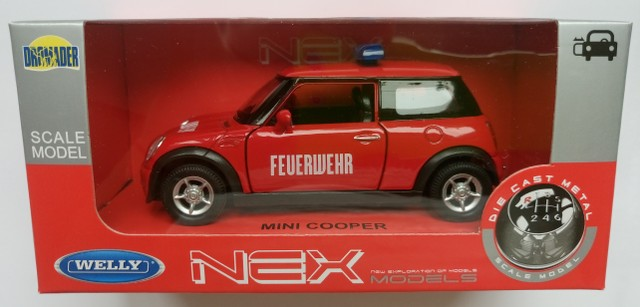 Mini Cooper Models >> Details About Welly Mini Cooper Fire Brigade 1 34 Die Cast Metal Model New In Box Feuerwehr