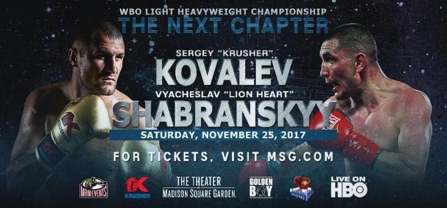 "Sergey ""Krusher"" Kovalev vs Vyacheslav ""Lion Heart"" Shabranskyy en Vivo – Box – Sábado 25 de Noviembre del 2017"