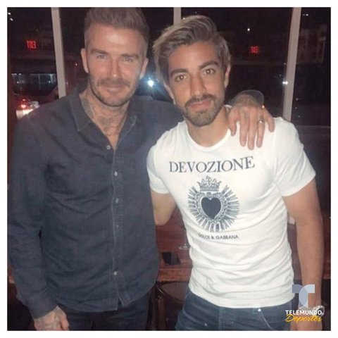 Rodolfo Pizarro junto a David Beckham en Miami