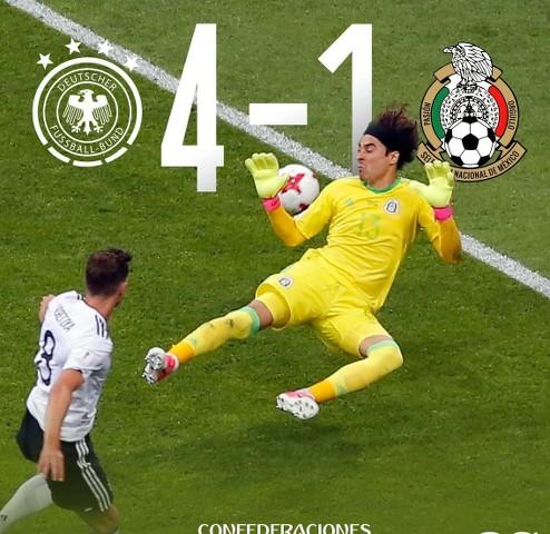 Alemania  golea 4-1 a México en la semifinal de Copa Confederaciones