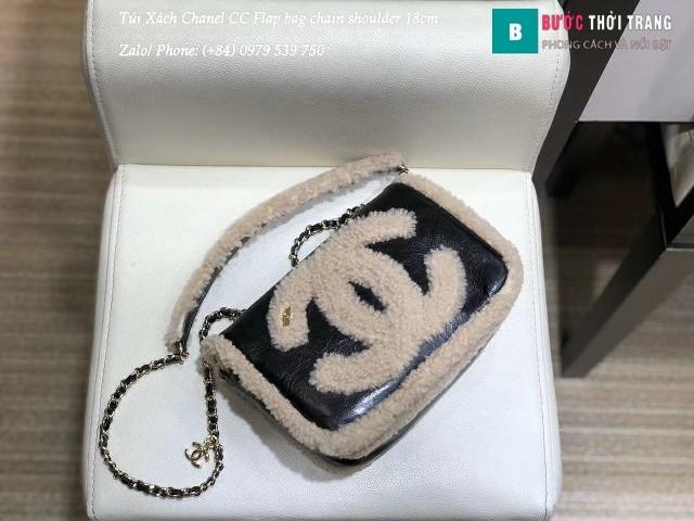 Túi Xách Chanel CC Flap bag chain shoulder lông thú màu trắng 18cm - AS0321
