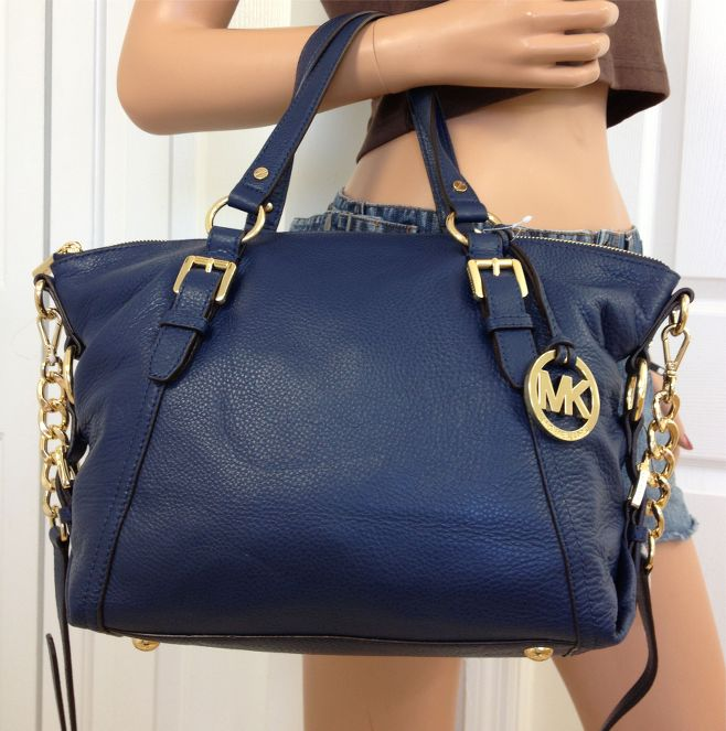 MICHAEL Michael Kors Navy Blue Leather Cross body Shoulder Bag Purse