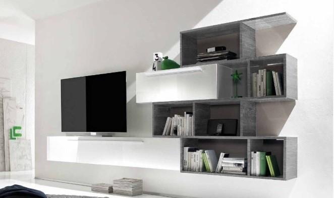 Libreria moderna Bali, mobile soggiorno di design, arredo wengè, rovere e grigio