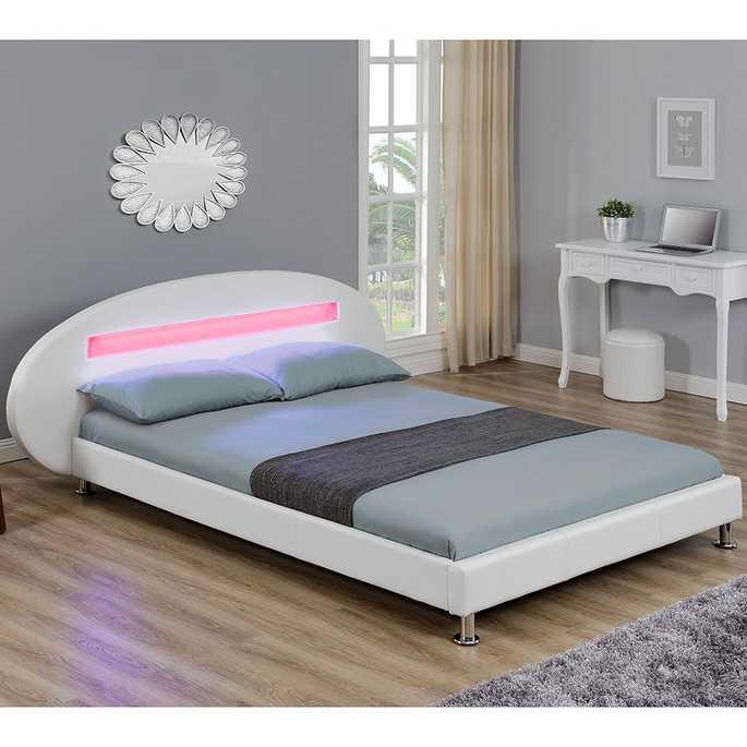 Rex letto matrimoniale in similpelle bianca con for Illuminazione camera da letto matrimoniale