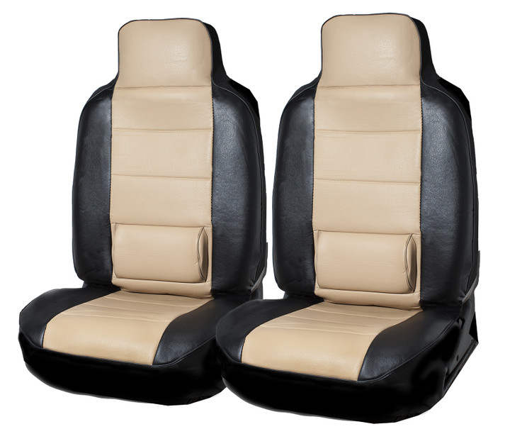 PU Leather 2 Front Car Seat Cover Lumbar Support