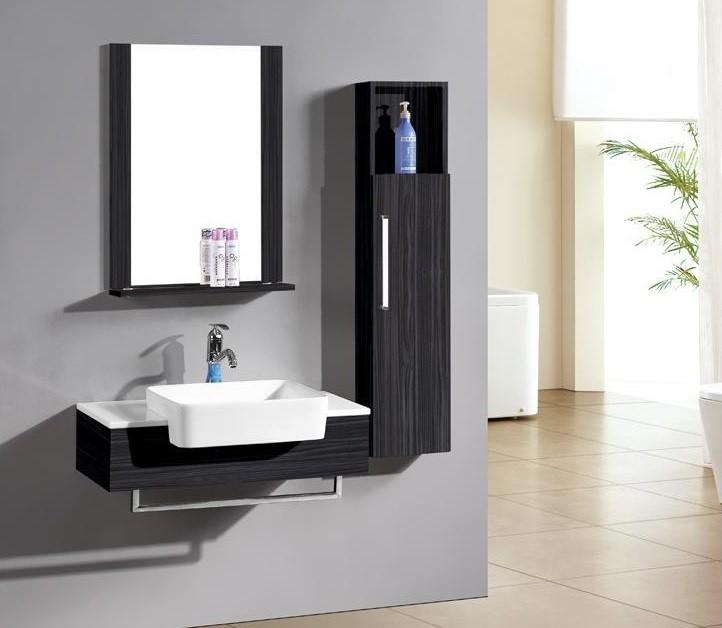 mobile bagno sospeso lotus, mobile moderno wengè, compresi lavabo ... - Mobile Bagno Senza Lavandino