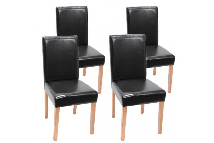 4x st hle gespaltenes leder schwarz stuhl esszimmerstuhl k chenstuhl 4er set ebay. Black Bedroom Furniture Sets. Home Design Ideas