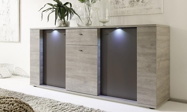 Madia moderna astro m mobile grigio adamello e grigio - Mobili contenitori soggiorno ...