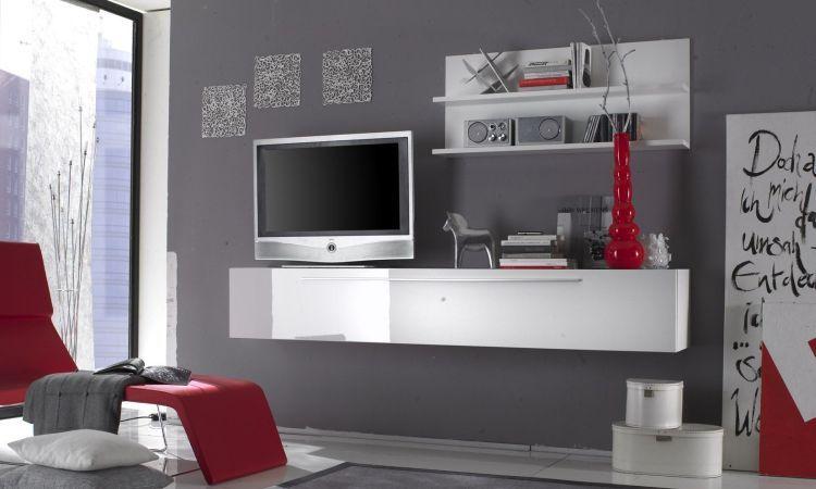 Soggiorno Primo bianco mobile porta tv appeso con anta a ribalta e ...