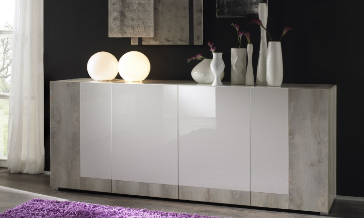 credenza marzia moderna mobile bianco laccato e pino bianco madia moderna 4 ante. Black Bedroom Furniture Sets. Home Design Ideas