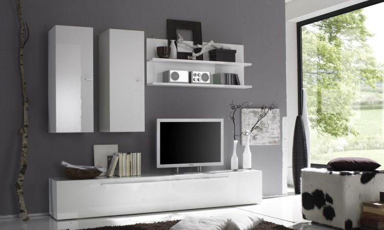 Soggiorno primo bianco mobile porta tv appeso con anta a ribalta e mensola lhp 210 x 170 x 36 cm - Mensole porta tv ikea ...