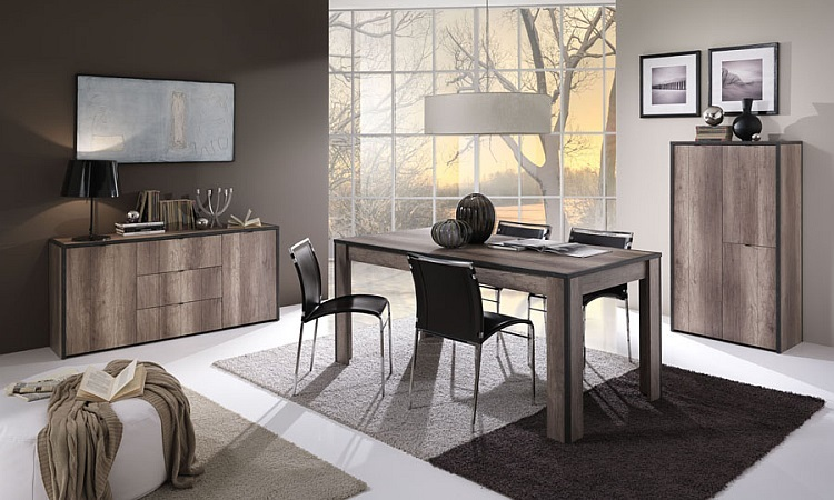 Tavolo moderno Thiago 02, mobile soggiorno, tavolo con serigrafia nera ...