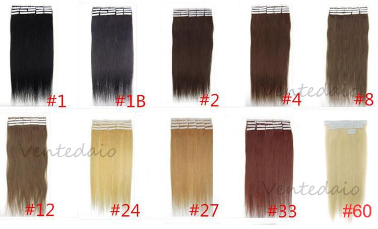 10 20 30 40 extensions de cheveux tape bandes adhesive pose a froid naturel 3aaa - Extension a froid 70 cm ...
