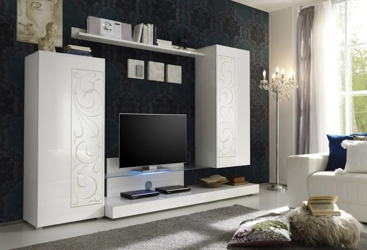 composizione soggiorno moderno romantica a1, mobile bianco lucido ... - Mobile Soggiorno Bianco Lucido