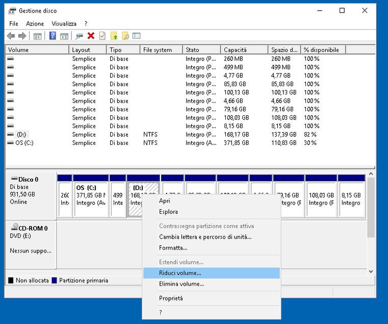 Gestione disco 4: partizionare il disco su windows 10