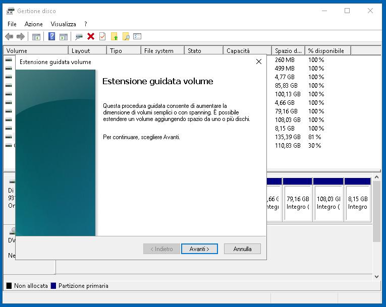 Gestione disco 10: partizionare il disco su Windows 10