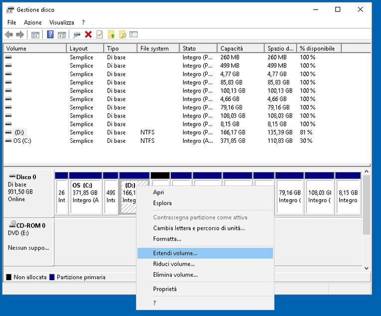 Gestione disco 9: partizionare il disco su windows 10