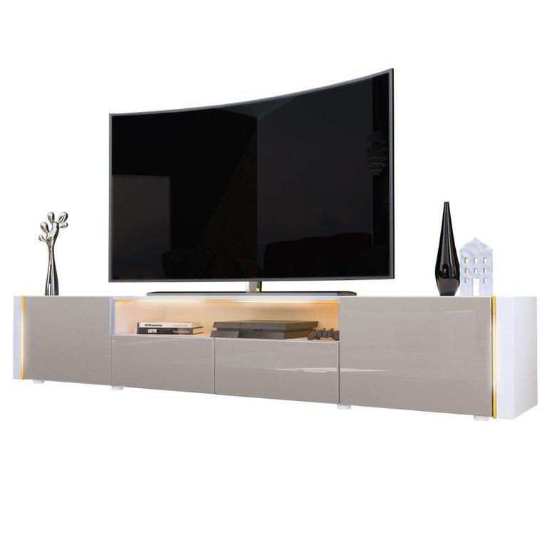 Casanova porta tv moderno mobile soggiorno bianco con led for Mobile porta tv moderno design