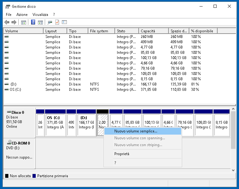 Gestione disco 7: partizionare il disco su Windows 10