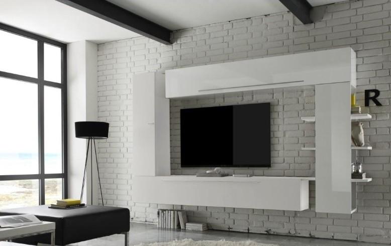 Parete porta tv Bali,composizione soggiorno appeso bianco e beige ...