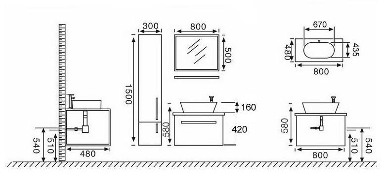 Mobile bagno sospeso vito specchio lavandino pensile e for Mobile bagno misure